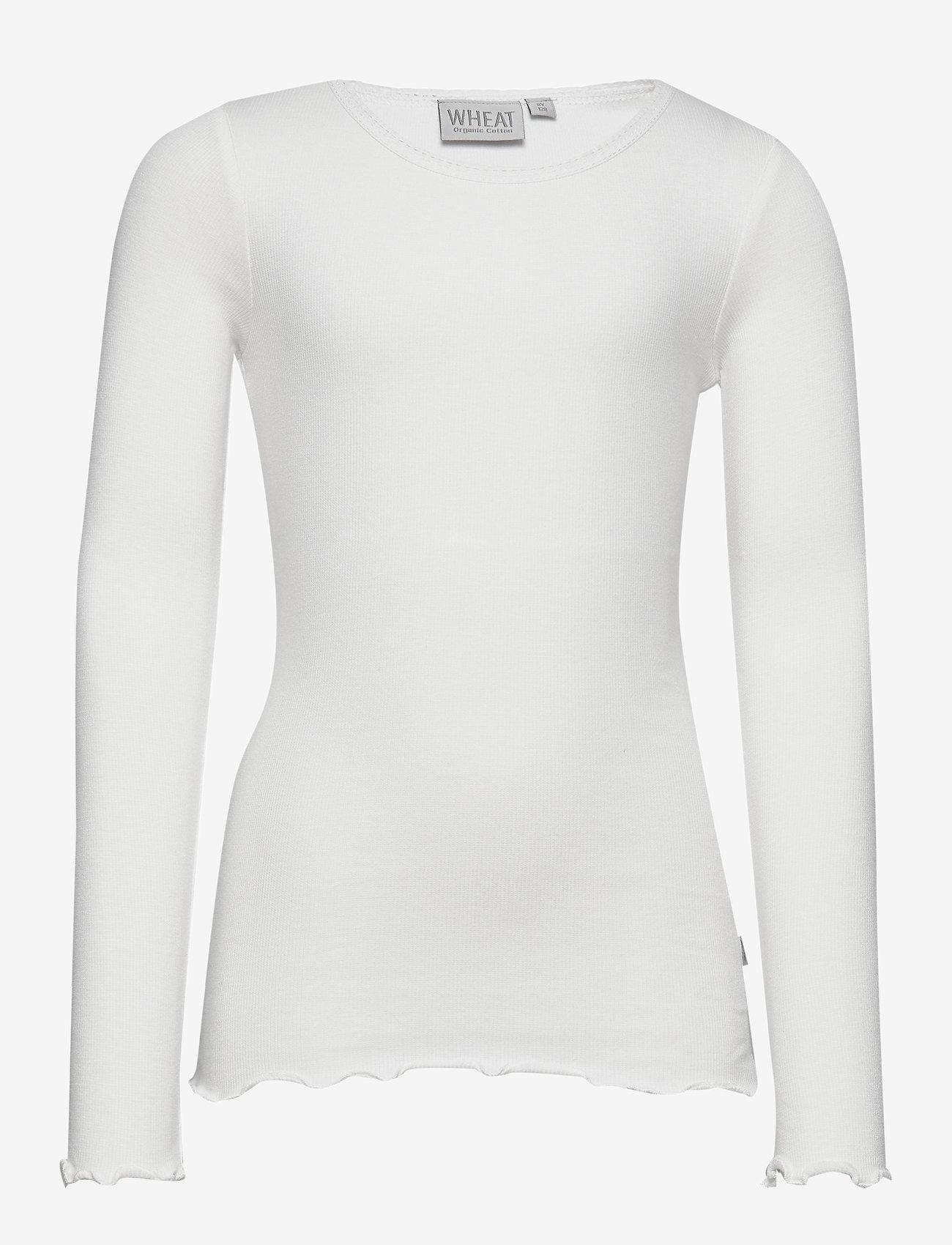 Wheat - Rib T-Shirt Lace LS - dlugi-rekaw - ivory