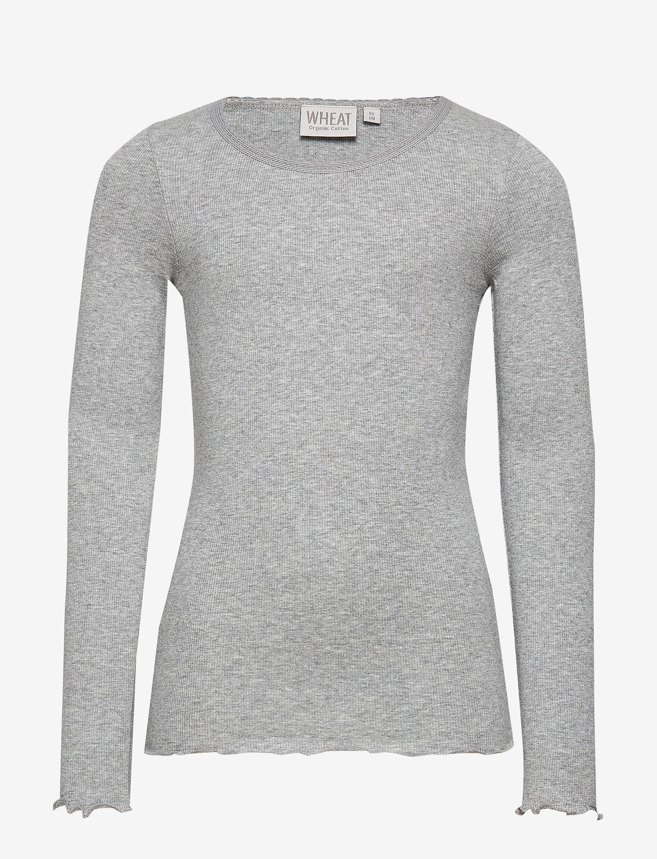 Wheat - Rib T-Shirt Lace LS - langermede t-skjorter - melange grey