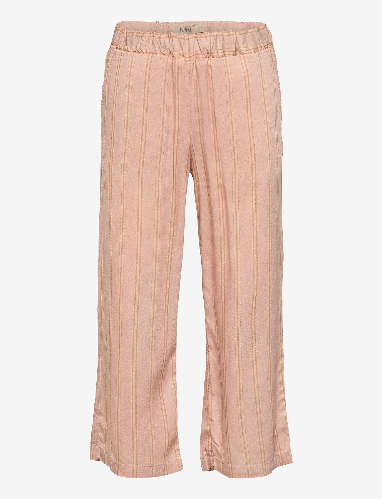 Wheat - Cropped Trousers Inga - trousers - peach stripe - 0