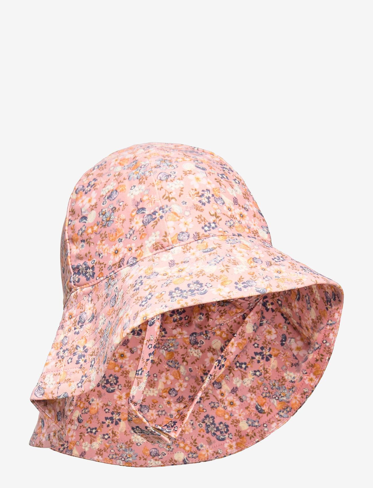 Wheat - UV Sun Hat - solhat - flowers and seashells - 0