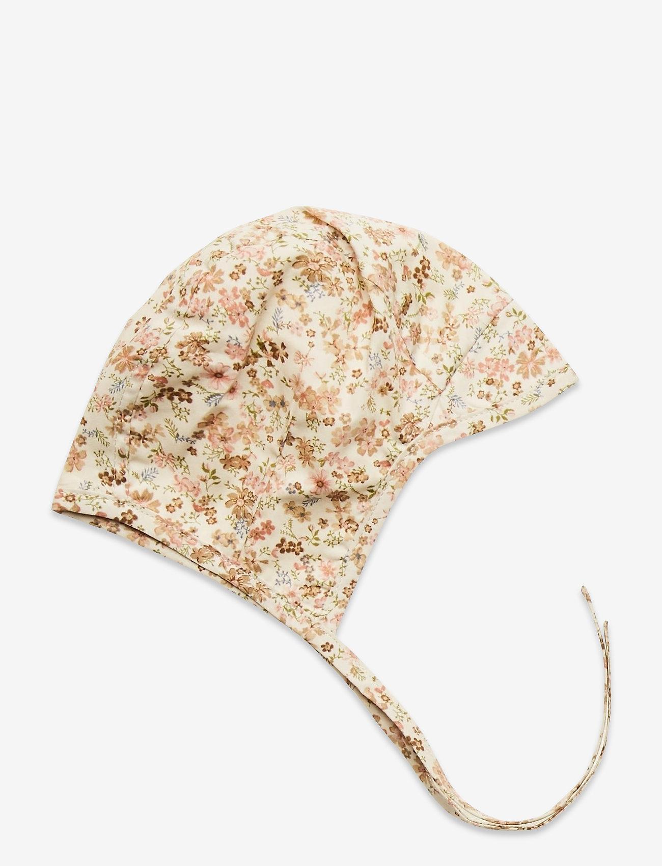 Wheat - Woven Bonnet Obi - hatte og handsker - eggshell flowers - 0