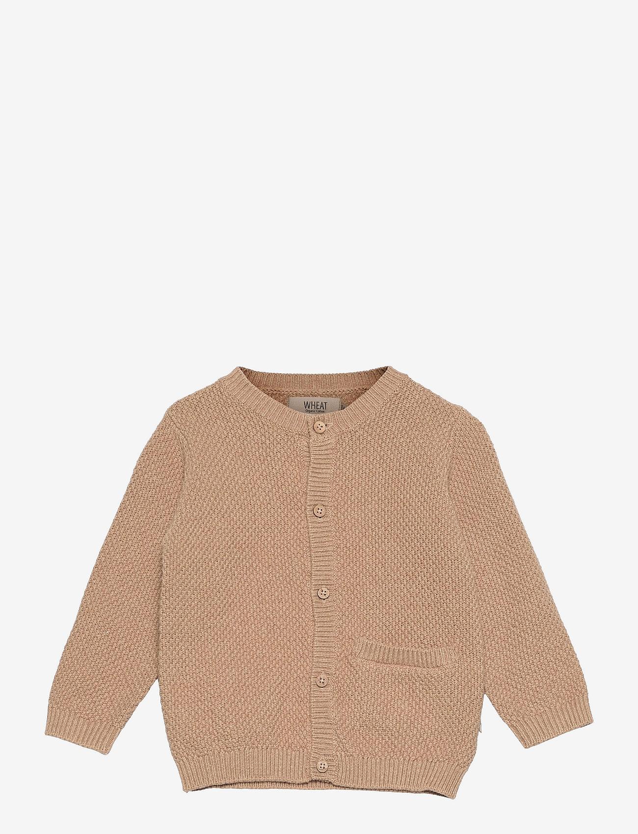 Wheat - Knit Cardigan Ray - gilets - sand melange - 0