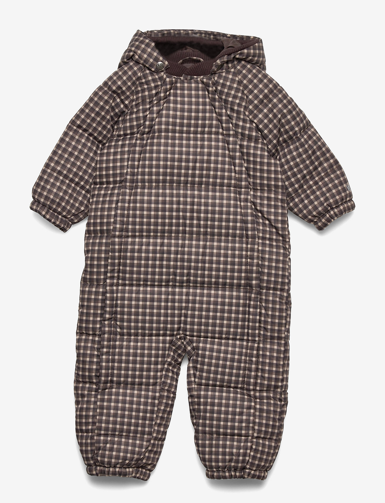Wheat - Puffer Baby Suit - snowsuit - brown check - 1