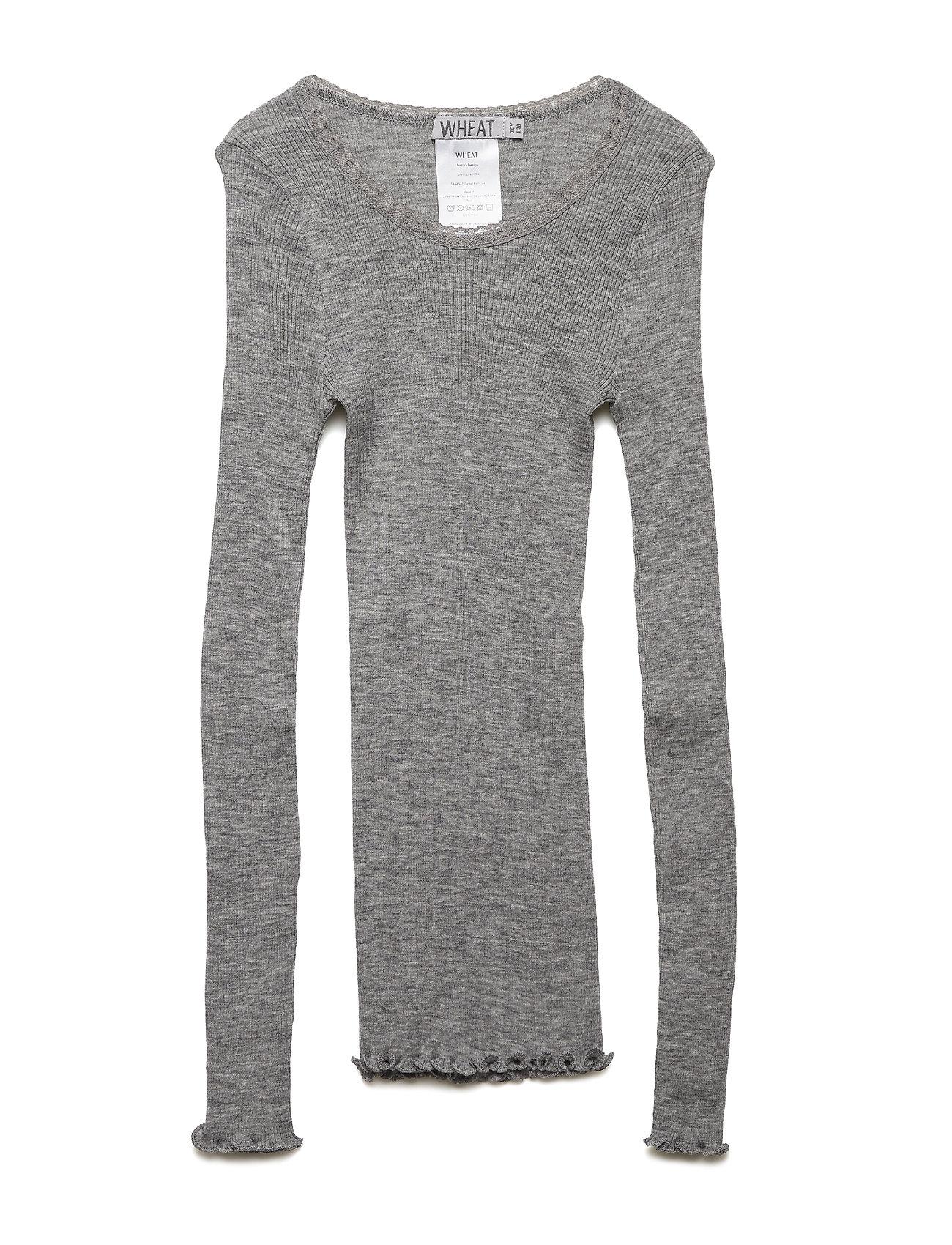 Wheat Wool Rib T-shirt LS - MELANGE GREY