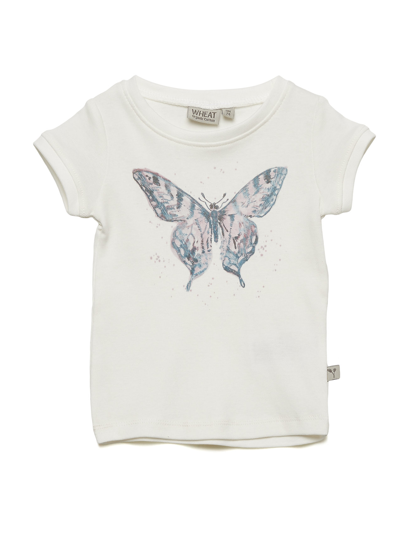 Wheat T-Shirt Watercolour Butterfly - IVORY