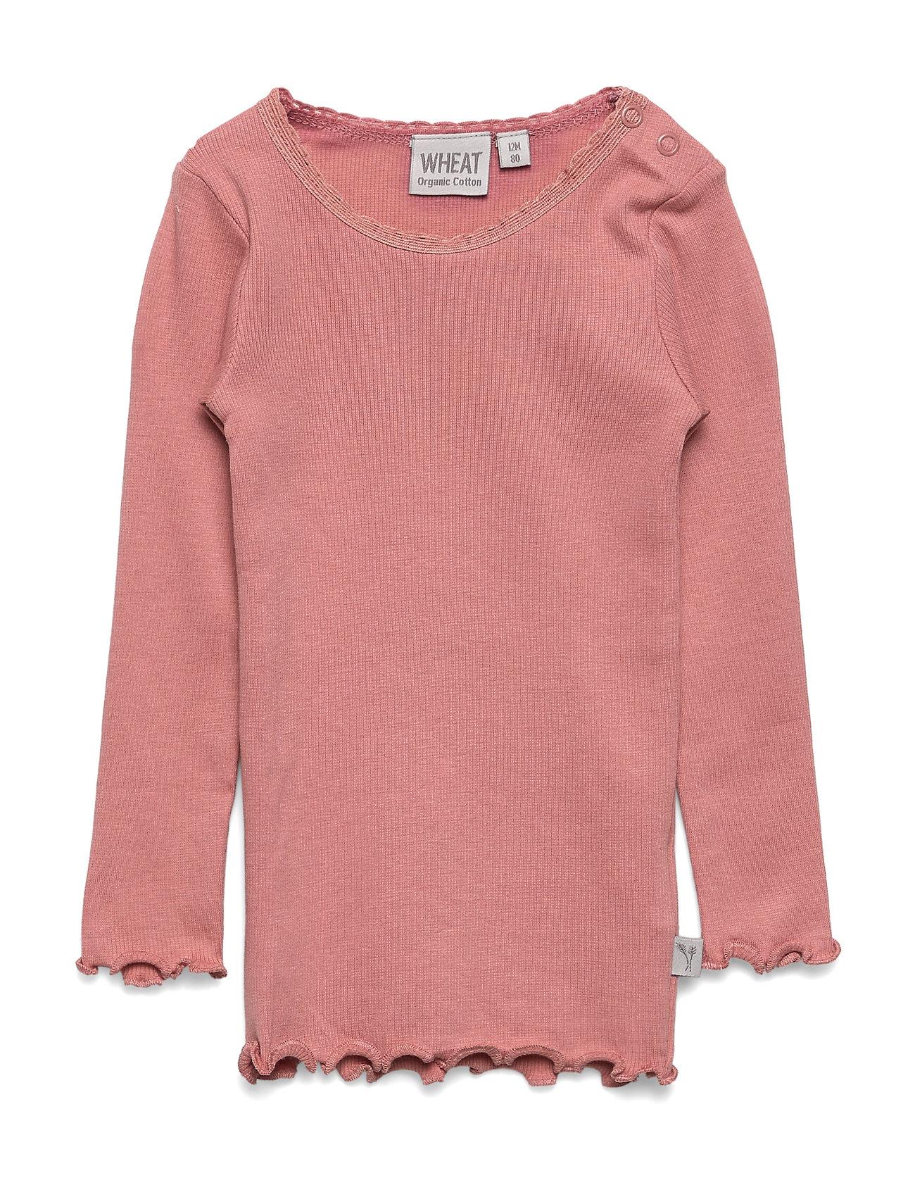 Rib T Shirt Lace Ls Langærmet T shirt Lyserød Wheat