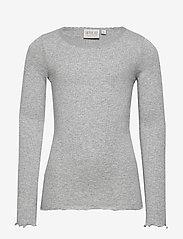 Wheat - Rib T-Shirt Lace LS - langermede t-skjorter - melange grey - 0