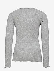 Wheat - Rib T-Shirt Lace LS - langermede t-skjorter - melange grey - 1