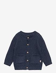Wheat - Knit Cardigan Alf - gilets - blue melange - 0