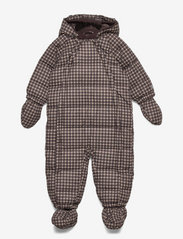 Wheat - Puffer Baby Suit - snowsuit - brown check - 0