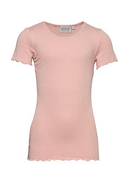 Rib T-Shirt Lace SS - MISTY ROSE