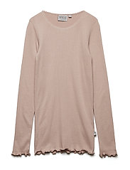 Rib T-Shirt Lace LS - ROSE POWDER