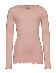 Rib T-Shirt Lace LS - MISTY ROSE
