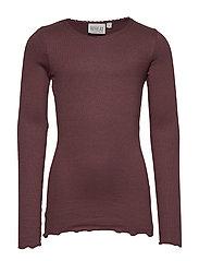 Rib T-Shirt Lace LS - SOFT EGGPLANT