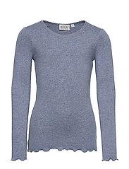 Rib T-Shirt Lace LS - FLINTSTONE MELANGE