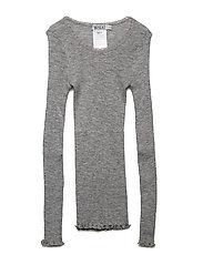 Wool Rib T-shirt LS - MELANGE GREY