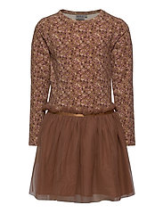 Jersey Dress Tulle Mathilde - CARAMEL FLOWERS