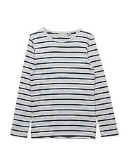T-Shirt Striped LS - MELANGE-GREY NAVY