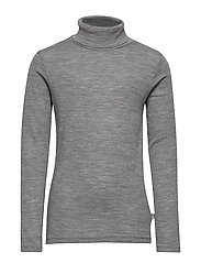 T-Shirt Roll Neck Wool - MELANGE GREY