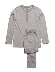 Boy Pajamas Rib LS - MELANGE GREY