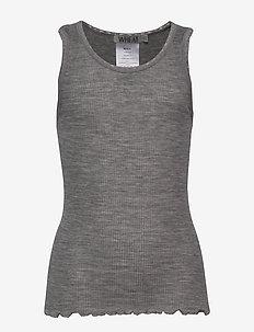 Rib Wool Top - zonder mouwen - melange grey