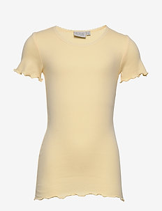 Rib T-Shirt Lace SS - short-sleeved - lemon curd
