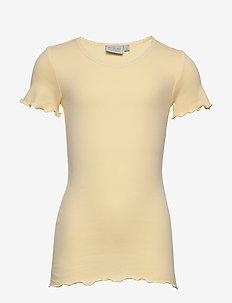 Rib T-Shirt Lace SS - kortermede - lemon curd