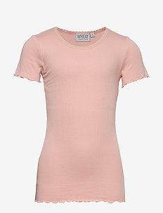 Rib T-Shirt Lace SS - short-sleeved - misty rose