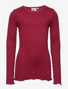 Rib T-Shirt Lace LS - DARK BERRY