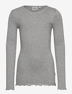 Rib T-Shirt Lace LS - MELANGE GREY