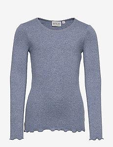 Rib T-Shirt Lace LS - pitkähihaiset paidat - flintstone melange