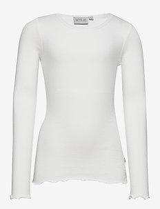 Rib T-Shirt Lace LS - long-sleeved t-shirts - ivory