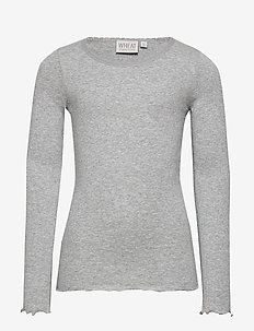 Rib T-Shirt Lace LS - long-sleeved t-shirts - melange grey