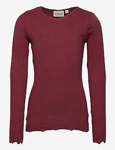 Rib T-Shirt Lace LS - langärmelige - burgundy
