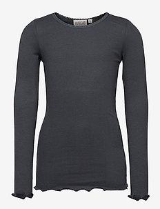 Rib T-Shirt Lace LS - long-sleeved t-shirts - dark petroleum