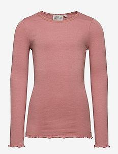 Rib T-Shirt Lace LS - long-sleeved t-shirts - soft rouge