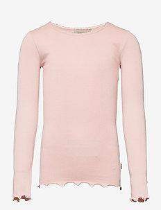 Rib T-Shirt Lace LS - langärmelige - powder