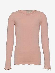Rib T-Shirt Lace LS - manches longues - rose powder
