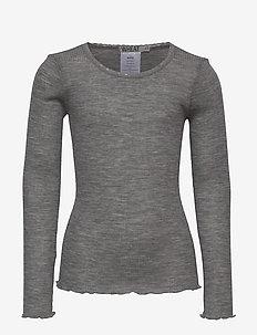 Wool Rib T-Shirt LS - lange mouwen - melange grey