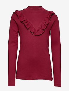 T-Shirt Rib Ruffle - DARK BERRY