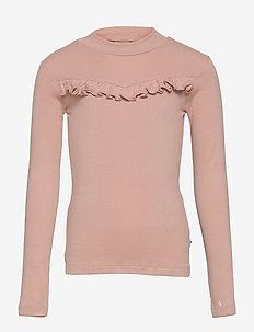 T-Shirt Rib Ruffle - manches longues - rose powder