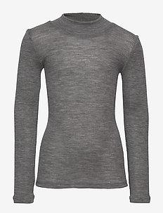Wool Rib T-shirt Turtleneck - lange mouwen - melange grey