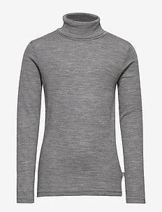 T-Shirt Roll Neck Wool - langermede t-skjorter - melange grey