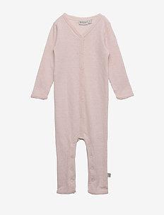 Plain Wool Jumpsuit Frill - body - peony