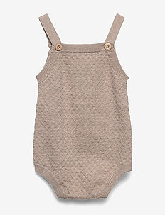 Knit Romper Vilde - short-sleeved - melange sand