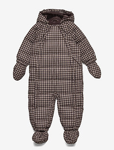 Puffer Baby Suit - snowsuit - brown check