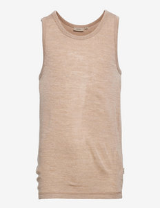 Boys Wool Singlet - sleeveless - khaki melange
