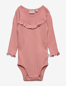 Body Rib Ruffle LS - SOFT PEACH ROSE