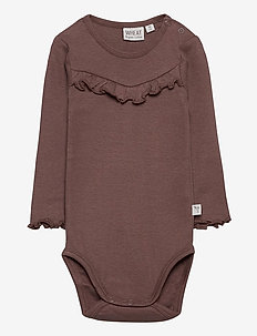 Body Rib Ruffle LS - langärmelig - powder plum