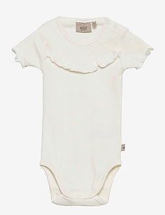 Rib Body Ruffle SS - short-sleeved - ivory